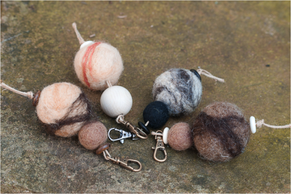 Key fobs made with needle-felted balls